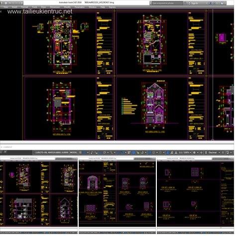 Hồ sơ thiết kế nhà phố 4 tầng 8x20m - 037