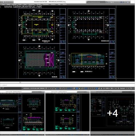Hồ sơ thiết kế Trường Nhà văn hóa Xã mẫu 01