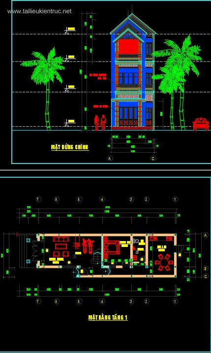 Hồ sơ thiết kế nhà phố 3 tầng 4x16m - 039