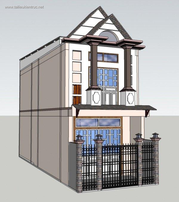 Sence House 00005 - Sketchup Nhà phố 2 tầng