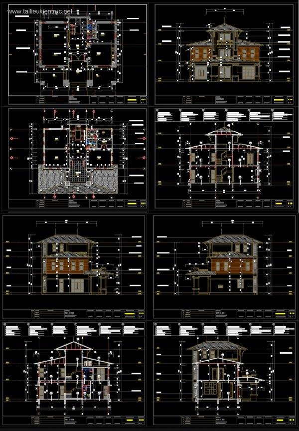 Hồ sơ thiết kế biệt thự 14x15m 3 tầng - 0031