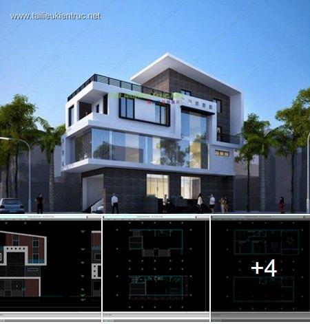 Hồ sơ thiết kế nhà phố 2 mặt tiền 4 tầng diện tích 6x16m 041