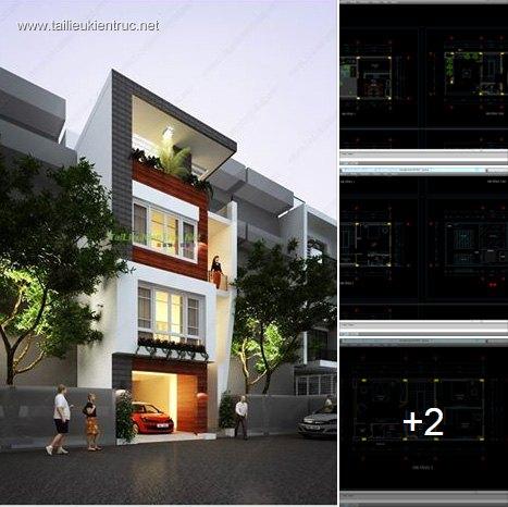 Hồ sơ thiết kế nhà phố 4 tầng diện tích 6,1x13,2m 042 hiện đại