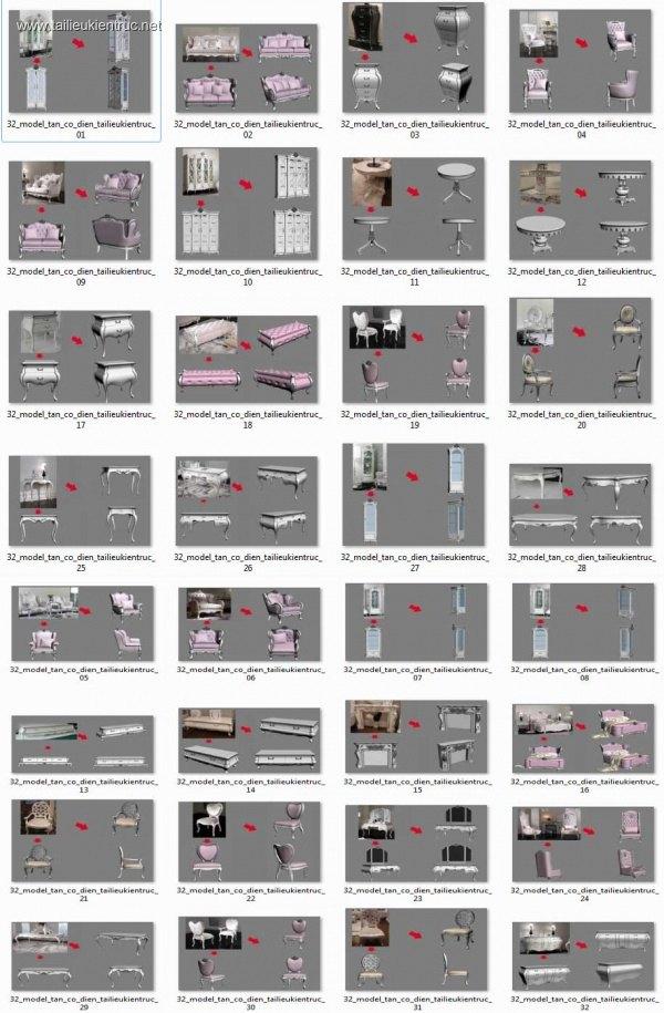 Tổng hợp 32 Model 3D Bàn ghế, tủ, kệ, giường Tân cổ điển