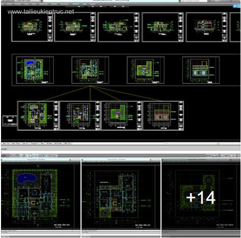 Hồ sơ thiết kế biệt thự nghỉ dưỡng 20x25m 1 tầng - 0033 (2 Mẫu)
