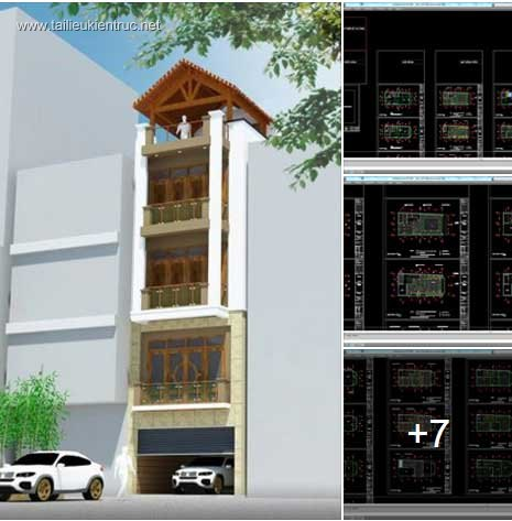 Hồ sơ thiết kế thi công nhà phố 4 tầng diện tích 5,5x11,6m 045 ( Kiến trúc, kết cấu, điện nước)