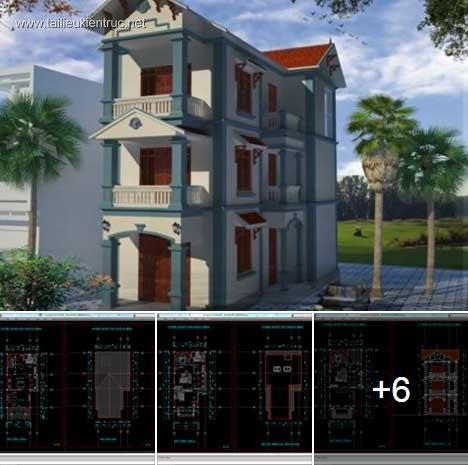 Hồ sơ thiết kế nhà phố 2 mặt tiền 3 tầng diện tích 7x14,6m 046