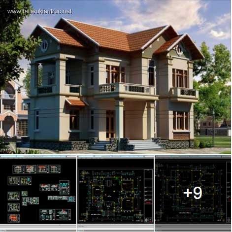 Hồ sơ thiết kế biệt thự 10x13m 2 tầng phong cách Pháp cổ - 0034