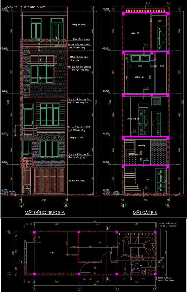 Hồ sơ thiết kế nhà phố 5 tầng diện tích 4x11m 049