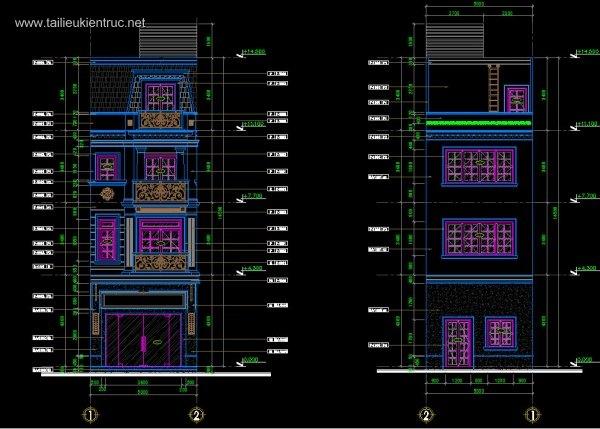 Hồ sơ thiết kế thi công nhà phố 4 tầng diện tích 5x20m 050