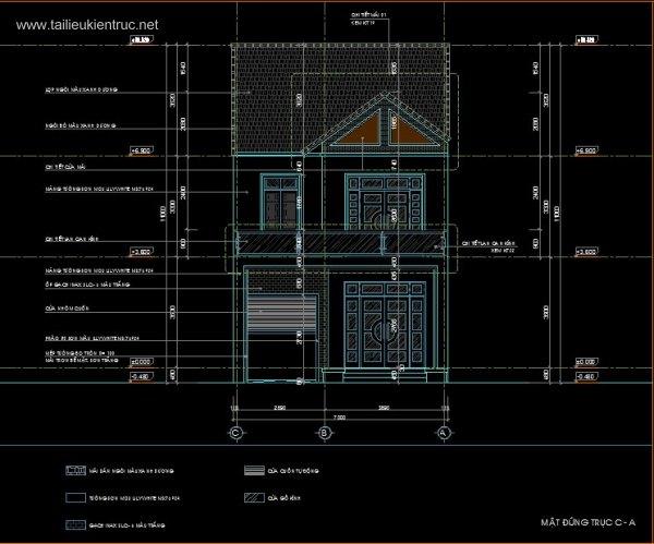 Hồ sơ thiết kế kỹ thuật thi công nhà phố 2 tầng 7x25m 051