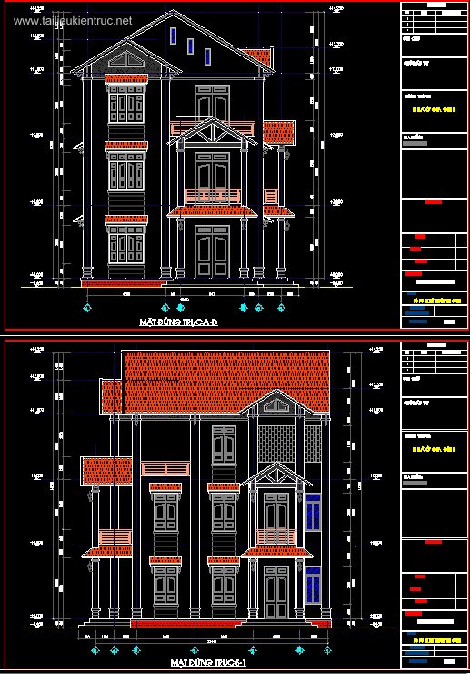Hồ sơ thiết kế thi công Biệt thự 3 Tầng diện tích 14x15m - 0036