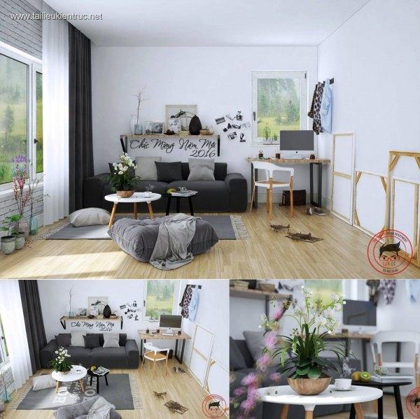 Sence Phòng khách 00013 - Nội thất chung cư phong cách Hiện Đại