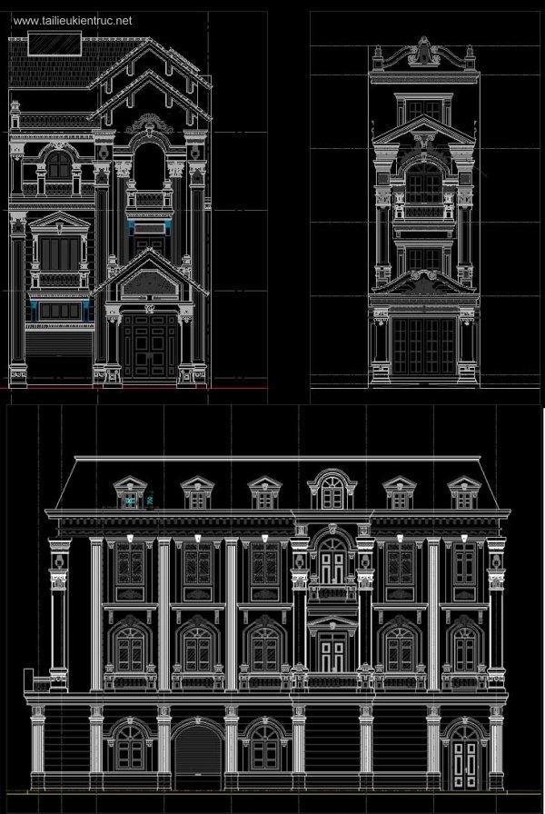 Tổng hợp chi tiết mặt đứng công trình Biệt thự, nhà phố Tân cổ điển