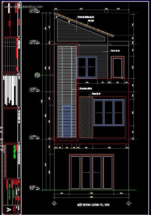Hồ sơ thiết kế thi công nhà phố 3 tầng diện tích 5x20m 052