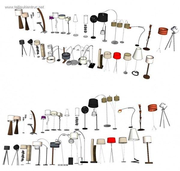 Tổng hợp thư viện Sketchup 3D model đèn sàn các loại