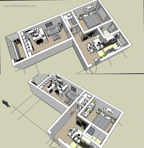 Model sketchup căn hộ chung cư