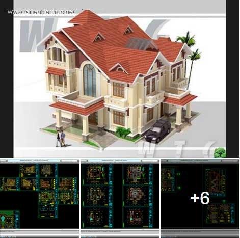 Hồ sơ thiết kế Biệt thự 3 Tầng diện tích 17x20m - 0039 Full kiến trúc