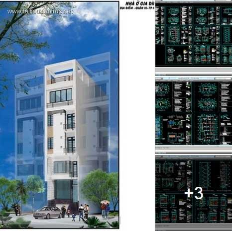 Hồ sơ thiết kế thi công nhà phố 5 tầng diện tích 5x12m 056