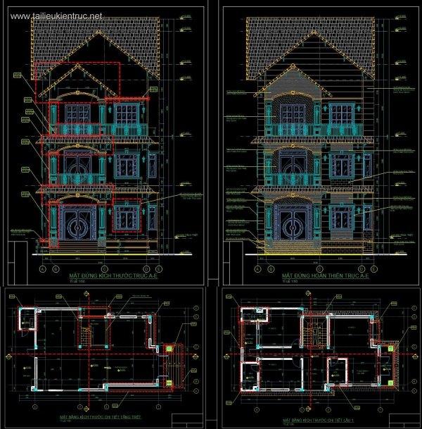 Hồ sơ thiết kế Biệt thự 3 Tầng diện tích 10x18,5m - 0040 Full kiến trúc