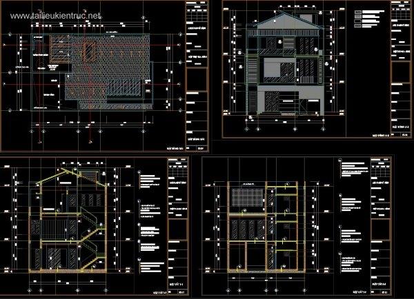 Hồ sơ thiết kế thi công Biệt thự 3 Tầng diện tích 10x15m - 0042 Full kiến trúc