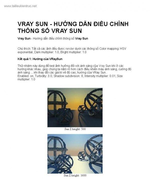 Vray Sun - Hướng dẫn điều chỉnh thông số Vray Sun