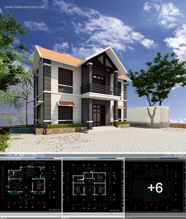 Hồ sơ thiết kế Biệt thự 2 Tầng diện tích 10x11m - 0043
