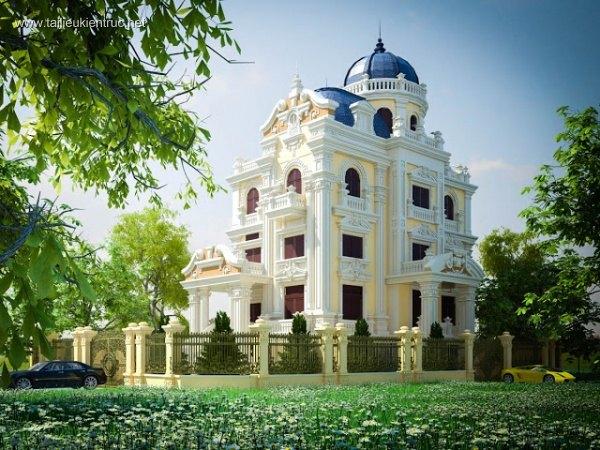Sence Villa 00010 - Lâu đài tân cổ điển Full 3dsmax cực đẹp