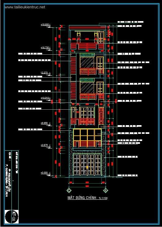 Hồ sơ thiết kế nhà phố 4 tầng diện tích 5x18,5m 061