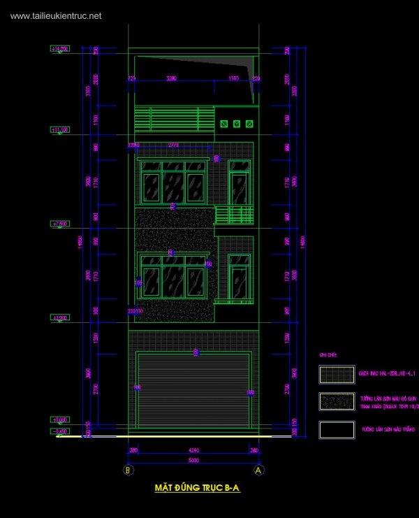 Hồ sơ thiết kế nhà phố 3,5 tầng diện tích 5x15m 062