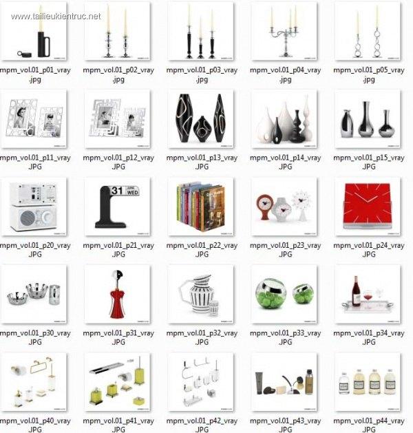 Tổng hợp 3d model 49 mẫu lọ, bình vật trang trí trong nội thất 003