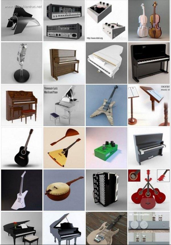 Tổng hợp 40 Model 3D nhạc cụ âm nhạc các loại P1