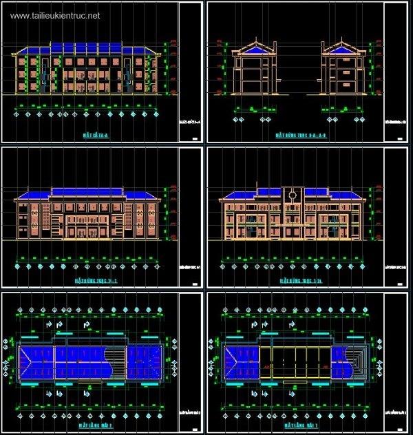 Hồ sơ thiết kế thi công Nhà Làm Việc 3 tầng 14x44m