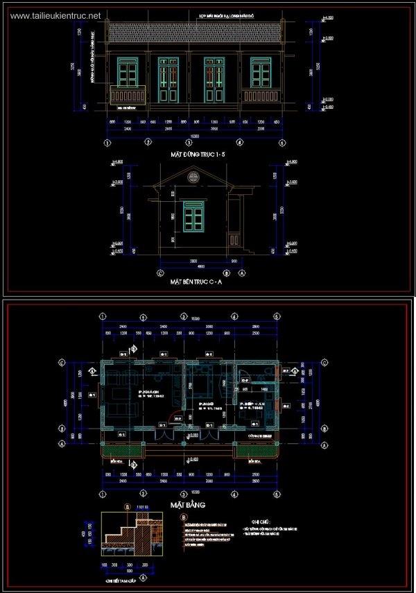 Hồ sơ thiết kế nhà 1 tầng diện tích 5x10m