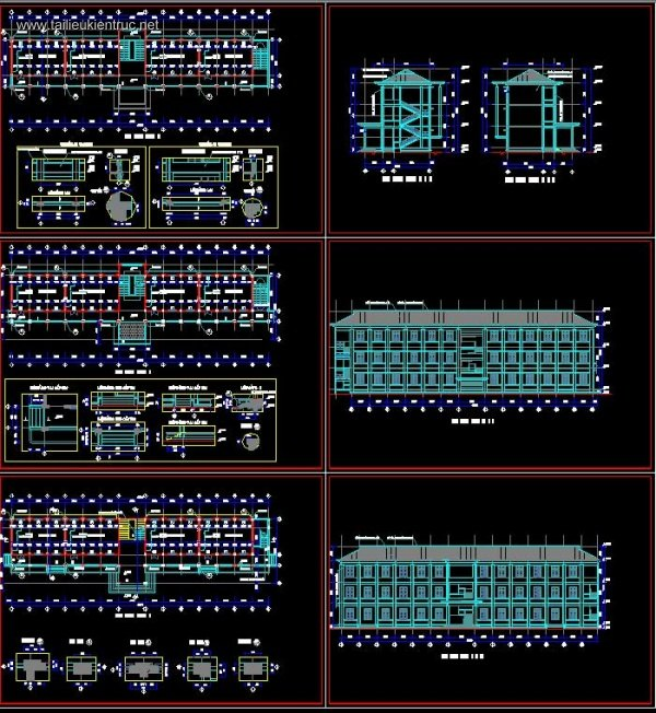 Hồ sơ thiết kế Nhà lớp học 3 tầng trường cấp 2 mẫu 03