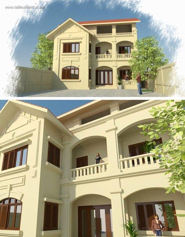 Sence Villa 00012 - Phối cảnh Biệt thự 3 tầng File Sketchup