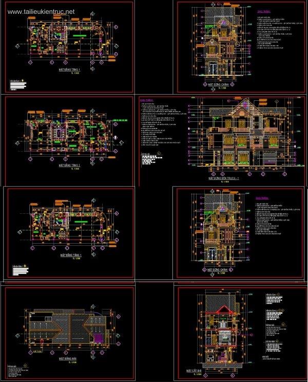 Hồ sơ thiết kế thi công Biệt thự 3 Tầng 7x16,8m - 0049 Full kiến trúc