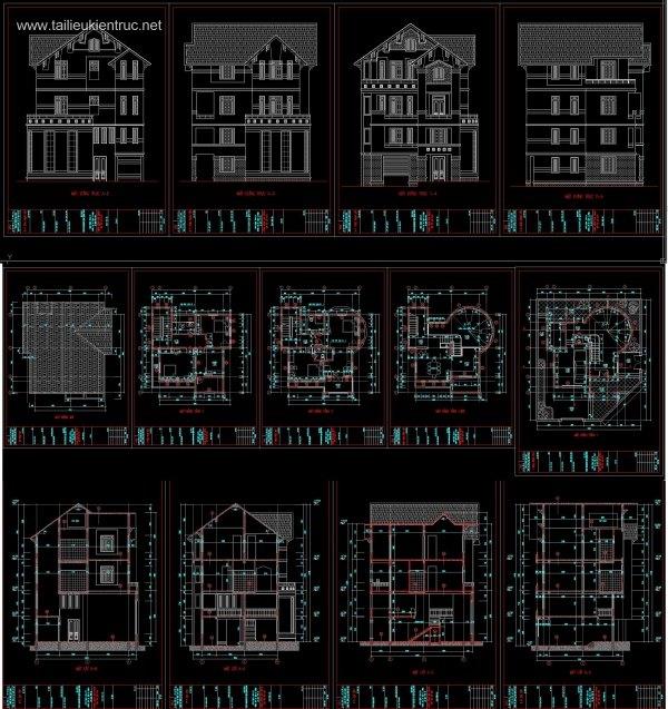 Hồ sơ thiết kế Biệt thự 3 Tầng 9,8x9,8m - 0050 Full