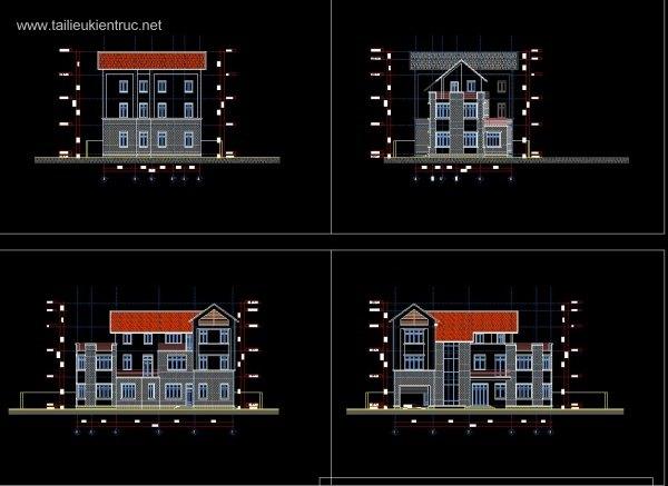 Hồ sơ thiết kế phương án Biệt thự 3 Tầng 12x19,6m - 0051