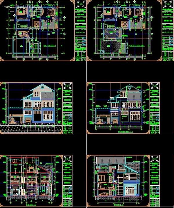 Hồ sơ thiết kế thi công Biệt thự 3 Tầng 14,3x16m - 0052