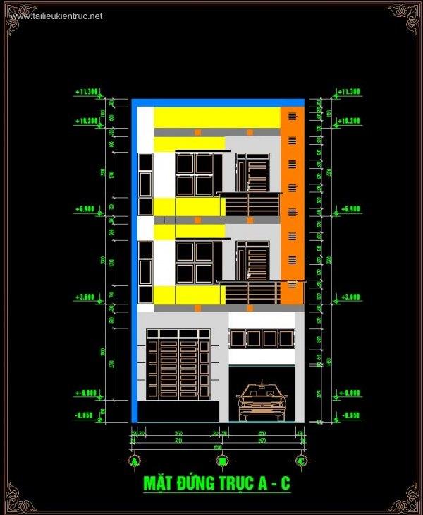 Hồ sơ thiết kế thi công nhà phố 3 tầng diện tích 6,5x12,5m 065