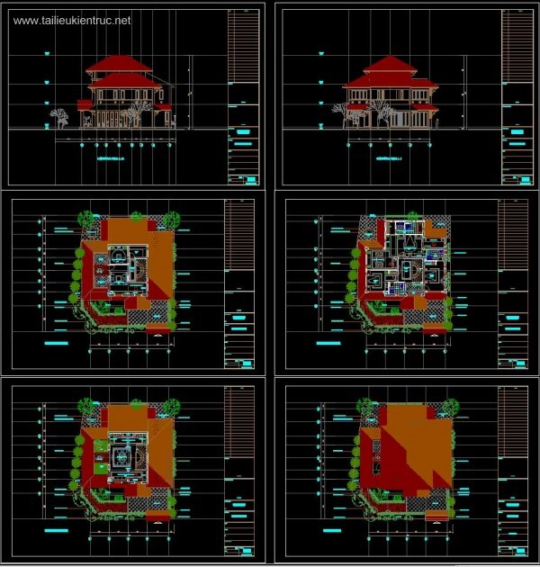 Hồ sơ thiết kế Biệt thự 2 Tầng 15x19,5m - 0053