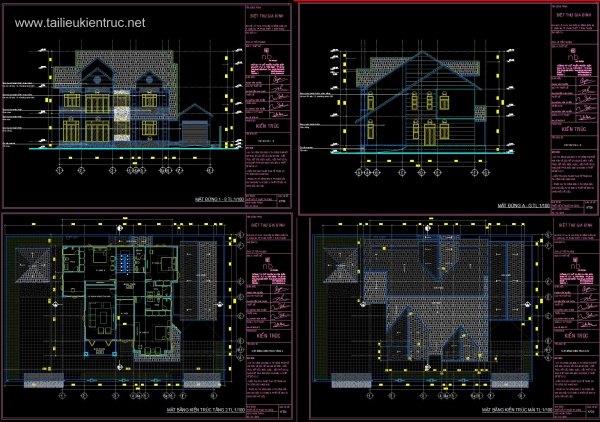 Hồ sơ thiết kế thi công Biệt thự 3 Tầng diện tích 17x22,7m - 0055 Full kiến trúc
