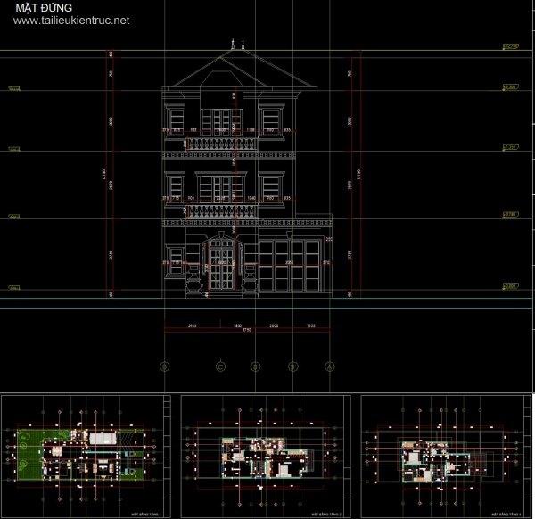 Hồ sơ thiết kế thi công Biệt thự 3 tầng, diện tích 9x13,7m - 0057