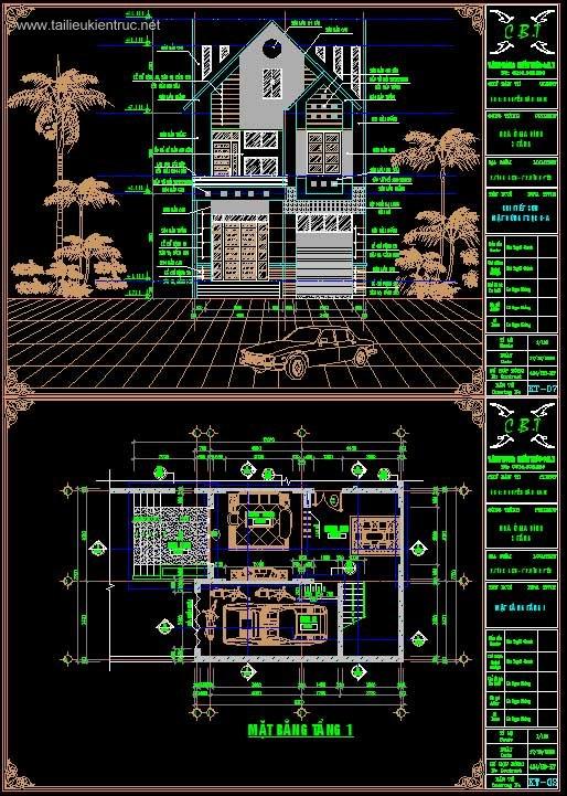 Hồ sơ thiết kế thi công nhà phố 3 tầng, diện tích 7,7x12m