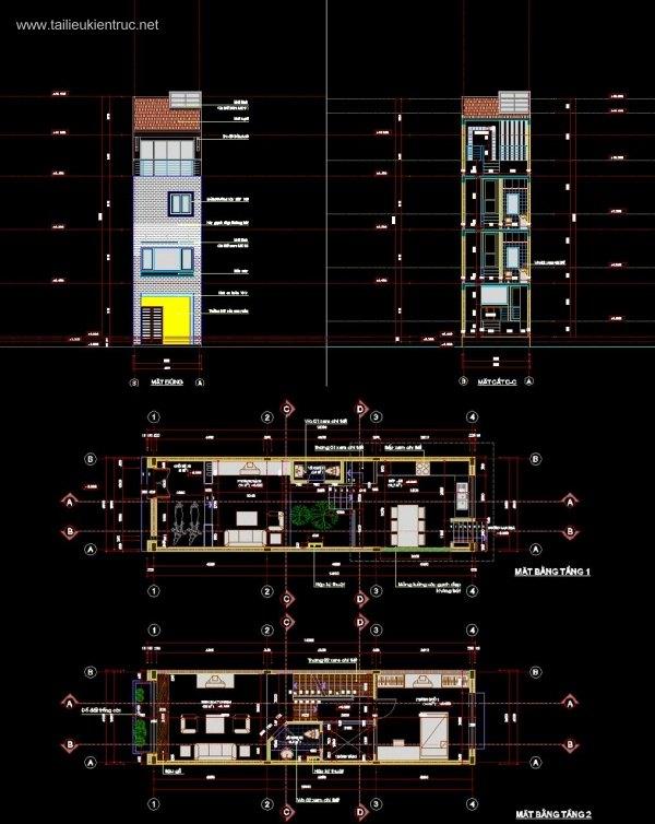 Hồ sơ thiết kế thi công Nhà phố 4 tầng, diện tích 4x14m