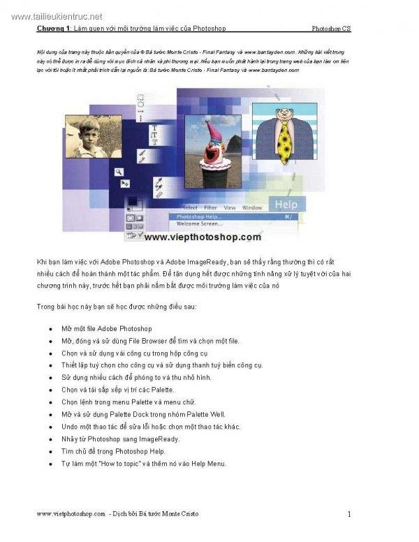 Giáo trình Photoshop - Chương 1: Làm quen với môi trường làm việc của Photoshop
