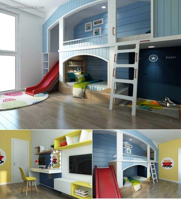 Sence Phòng Ngủ trẻ con 00006 - Thiết kế nội thất phong cách hiện đại