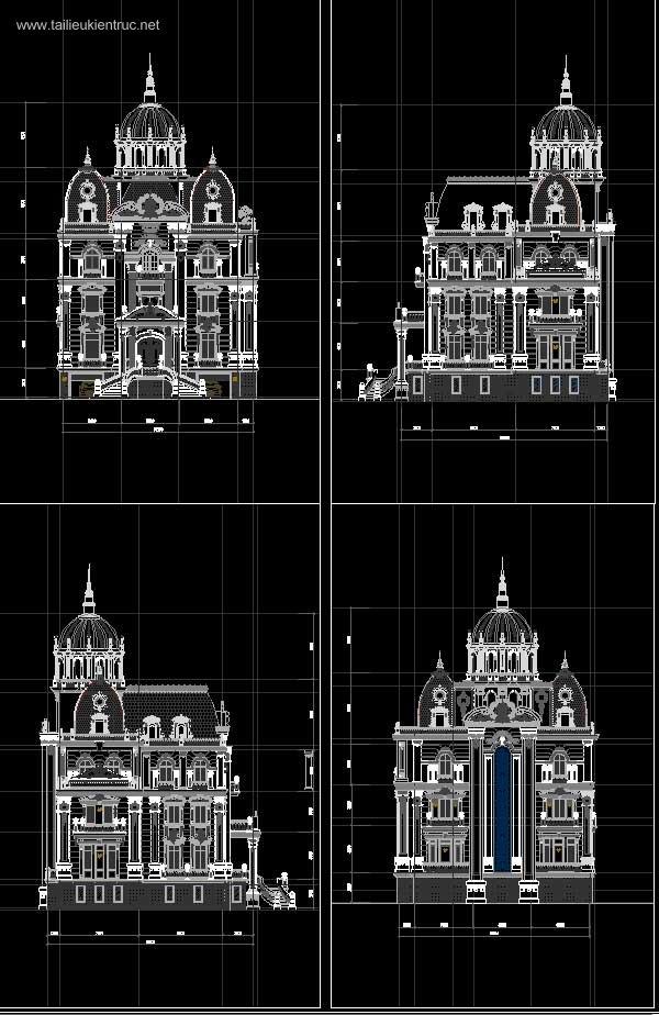 Hồ sơ thiết kế Biệt thự Lâu đài 4 Tầng Tân cổ điển diện tích 18x19m - 0059