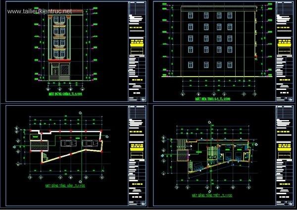 Hồ sơ thiết kế Nhà phố 5 tầng, diện tích 9,8x20m